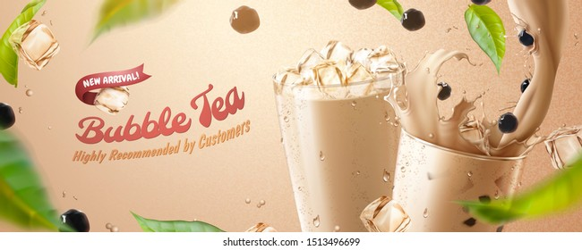 Bubble tea banner ads with splashing milk tea, tapioca and green leaves in 3d illustration