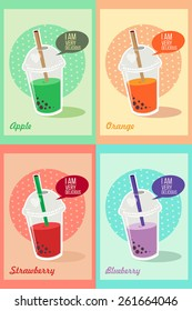 Bubble Tea or Milk Cocktail. Glass of drink with tubule. Illustration of bubble tea or milkshake on different colors background with hearts. Can be used for greeting cards, party invitations or menu.