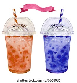 Bubble tea shake smoothie watercolor illustrated juice drink in plastic to go cup set
