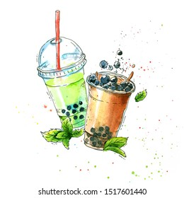 Bubble tea; tapioca cocktail with blackberries and mint leaves. Watercolor illustration with watercolor stains on a white background