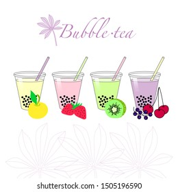 Bubble tea. Tapioca. Plant Manioc - leafing and root crops of the plant from which make Bubble tea. Tea can be made with the taste of different fruits.