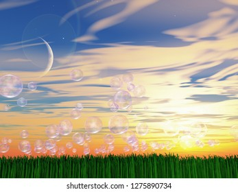 Bubbles floating over green field. 3D rendering