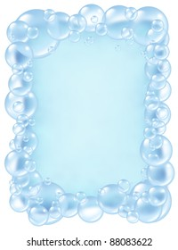 Bubbles frame and transparent bath soap suds with  bubble foam border composition as a clean blue bath washing and freshness symbol of cleanliness.