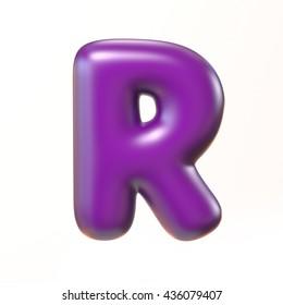 Bubbly 3d font letter R