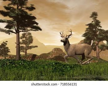 Buck in the mountain - 3D render