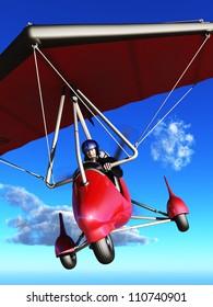 Bucket list concept elderly man laughing as he pilots microlight aircraft