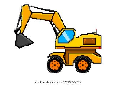 Bucket Loader Excavator Pixel Art Construction Vehicle