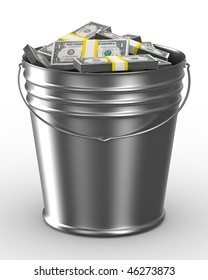 Bucket with money on white background. Isolated 3D image