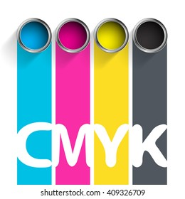 Bucket of paint CMYK. Color scheme for the printing industry. Stock illustration.