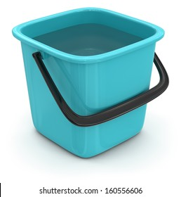 Bucket with water (clipping path included)