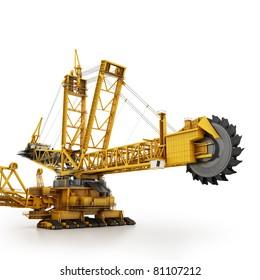 Bucket wheel excavator isolated on white