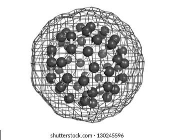 Buckminsterfullerene (buckyball, C60), molecular model. Atoms are represented as spheres