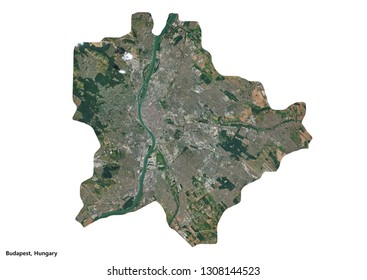 Budapest, Hungary Map (3D illustration)