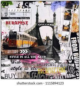 Budapest, Hungary. Vintage illustration with Liberty Bridge
