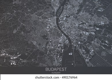 Budapest map, satellite view, city, Hungary. 3d rendering