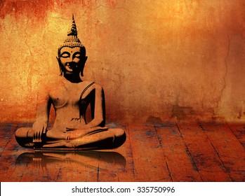 Buddha background in grunge style