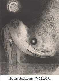The Buddha, by Odilon Redon, 1895, French Symbolist print, lithograph. The inscription below the image translates, I was led unto the schools; and it was found that I knew more than the teachers. It i