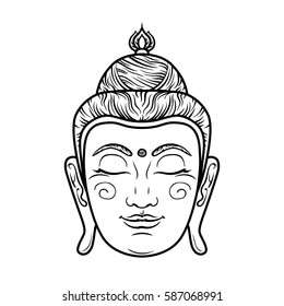 d03127a398d9c Buddha face isolated on white. Esoteric vintage illustration. Indian,  Buddhism, spiritual art
