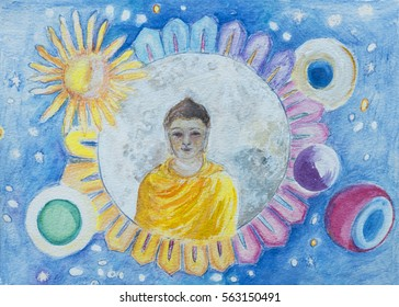 Buddha illustration with Moon and planets. A colourful  hand drawn and painted illustration of a youthful Buddha, with the moon, sun and planets set in a blue starry sky.