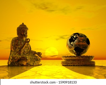 Buddha meditating for earth safety - 3D render