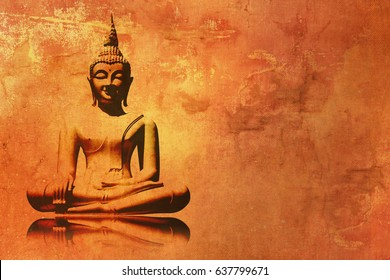 Buddha painting in lotus position - meditation background