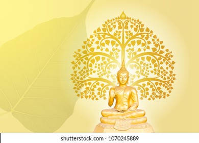 buddha statue on bodhi tree background, The important day of buddhist concept