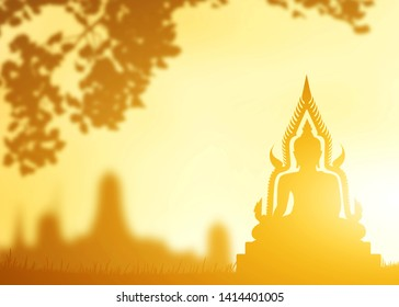 Buddha statue,  Silhouette Buddha on golden sunset background, Concept of important days in Buddhism, Visakha Puja Day