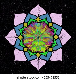 The Buddhist mandala in the background of the vast expanses of the universe. Wisdom and the distant stars.