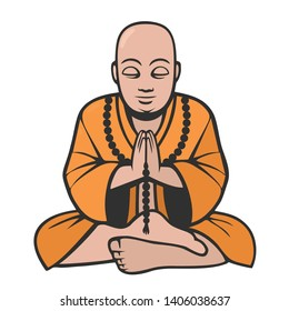 Buddhist monk buddha icon vector. Buddha is meditating in the lotus position. Illustration of a monk buddha character in flat minimalism style.