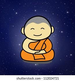 Buddhist Monk cartoon and Galaxy Background