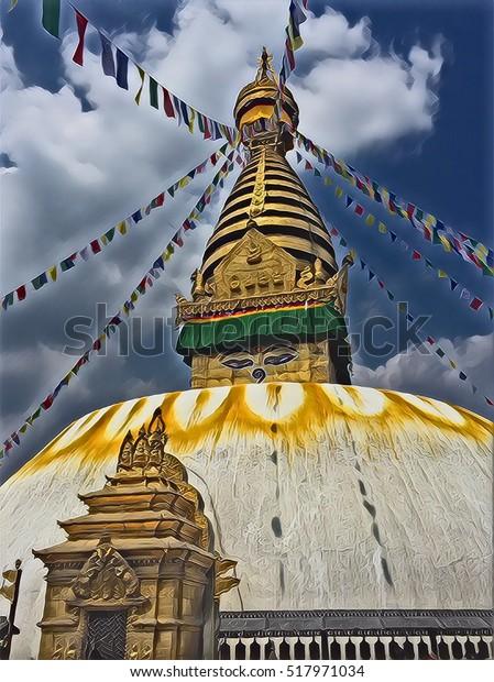 Buddhist Stupa Kathmandu Digital Illustration Traditional
