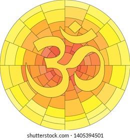 Buddhist symbol Ohm illustration on white background. Om.