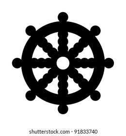 Buddhist Wheel of Dharma in black silhouette isolated on white background.