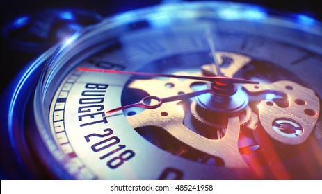Budget 2018. on Watch Face with CloseUp View of Watch Mechanism. Time Concept. Vintage Effect. Vintage Pocket Watch Face with Budget 2018 Wording on it. Business Concept with Vintage Effect. 3D.