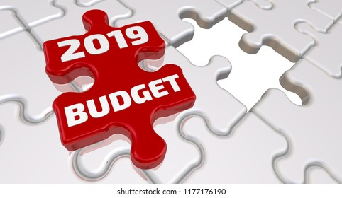 Budget 2019. The inscription on the missing element of the puzzle. Folded white puzzles elements and one red with word BUDGET 2019. 3D Illustration