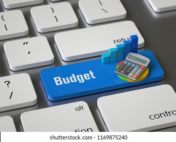 Budget key on the keyboard, 3d rendering,conceptual image.