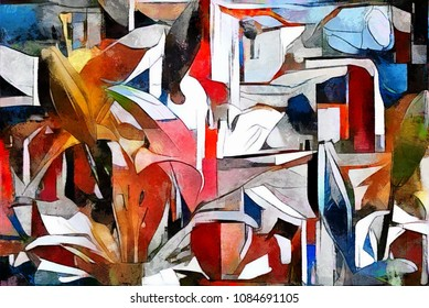 The buds of lilies. Modern abstract art in the style of cubism. The picture is made by oil on canvas with elements of pastel painting.
