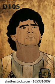 Buenos Aires, Argentine; 14 of November 2020:  Illustration by Diego Armando Maradona, with the Argentine national team's shirt