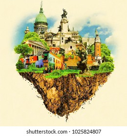 BUENOS AIRES city colored watercolor painting illustration