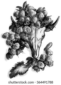 Buffalo Cow Skull with roses and feathers, romantic old west theme