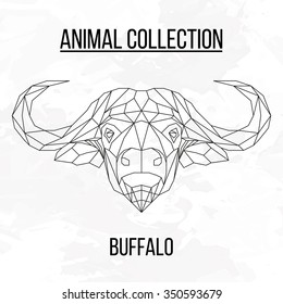 Buffalo head geometric lines silhouette isolated on white background vintage design element picture