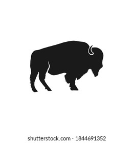 Buffalo icon silhouette. Retro letterpress effect. Bison black symbol pictogram isolated. Use for steak house logo, national park infographics, grill logotype. Stock design