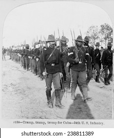 Buffalo soldiers of the 24th U.S. Infantry -- Tramp, tramp, tramp for Cuba! stereocard ca. 1898