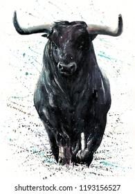 Buffalo watercolor painting