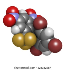 Bufotenin molecule. Tryptamine present in several psychedelic toads. 3D rendering. Atoms are represented as spheres with conventional color coding: hydrogen (white), carbon (grey), oxygen (red), etc
