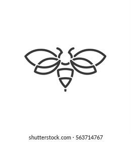 bug Hornet illustration of in the style contemporary design sign drawn in minimalism art