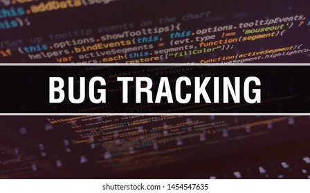 Bug tracking with Binary code digital technology background. Abstract background with program code and Bug tracking. Programming and coding technology background. Bug tracking with Program listing