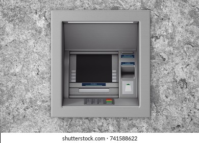 Build In Bank Cash ATM Machine in concrete wall. 3d Rendering