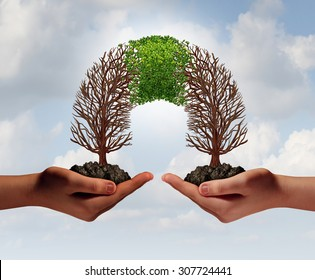 Build a business as a collaborative team with struggling trees connecting with a partner for teamwork financial growth and success as a metaphor for partnership cooperation.