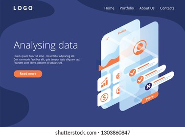 Build a customer profile in a mobile application. Data analysis and office situations. Isometric illustration. Landing page concept. Client profile online marketing dashboard design. Interface
